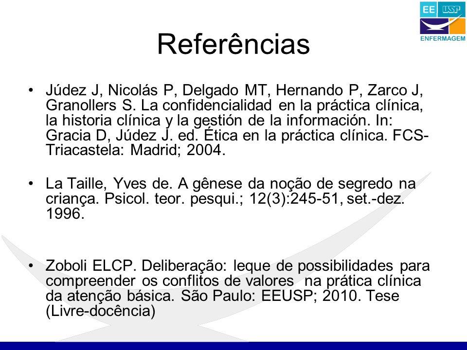 Referências Júdez J, Nicolás P, Delgado MT, Hernando P, Zarco J, Granollers S.