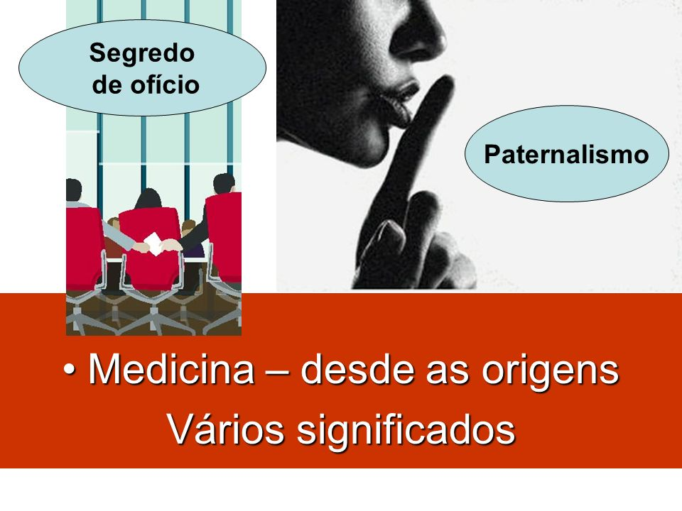 Paternalismo Medicina – desde as origensMedicina – desde as origens Vários significados Segredo de ofício