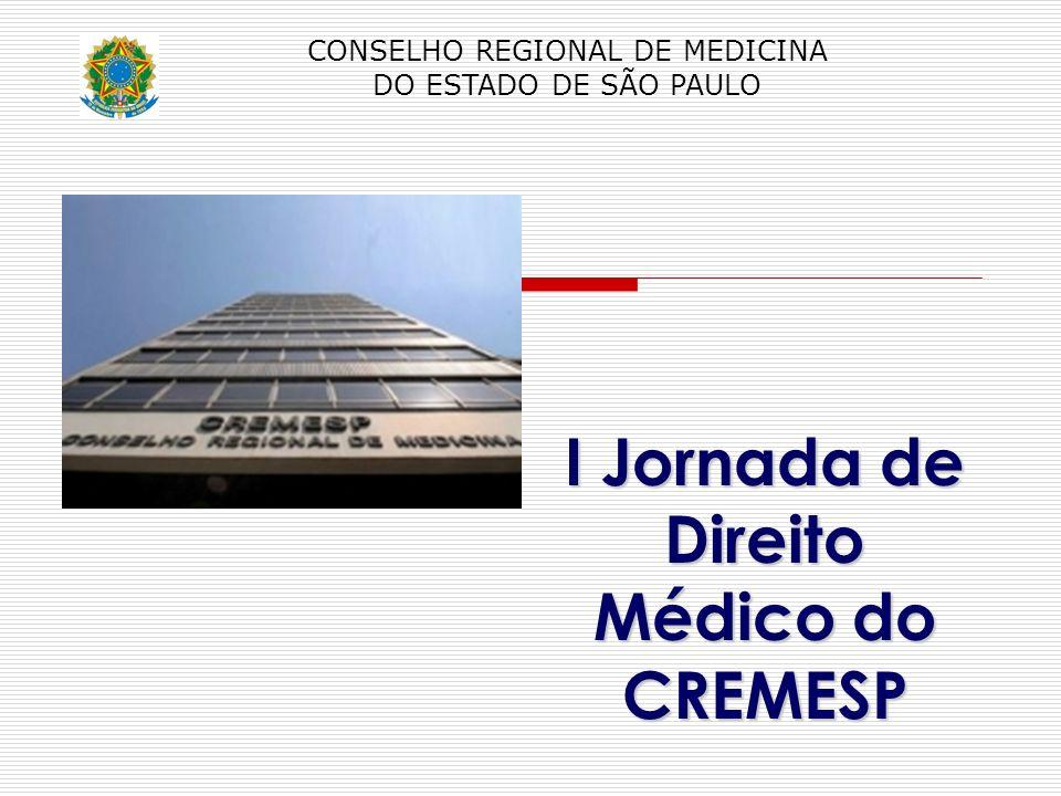 CONSELHO REGIONAL DE MEDICINA DO ESTADO DE SÃO PAULO I Jornada de Direito Médico do CREMESP
