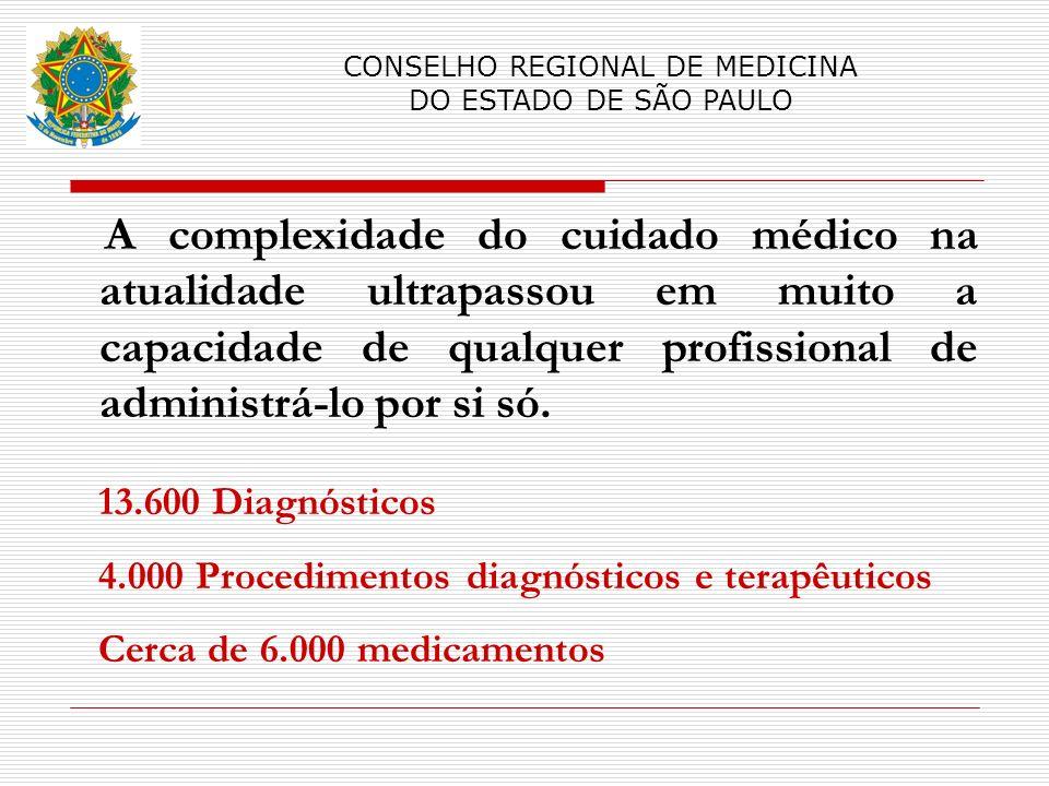 A complexidade do cuidado médico na atualidade ultrapassou em muito a capacidade de qualquer profissional de administrá-lo por si só. CONSELHO REGIONA