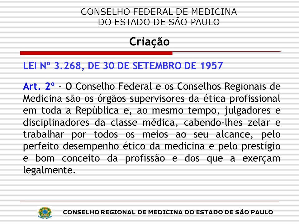 CONSELHO REGIONAL DE MEDICINA DO ESTADO DE SÃO PAULO Criação CONSELHO REGIONAL DE MEDICINA DO ESTADO DE SÃO PAULO Criação LEI Nº 3.268, DE 30 DE SETEMBRO DE 1957 Art.