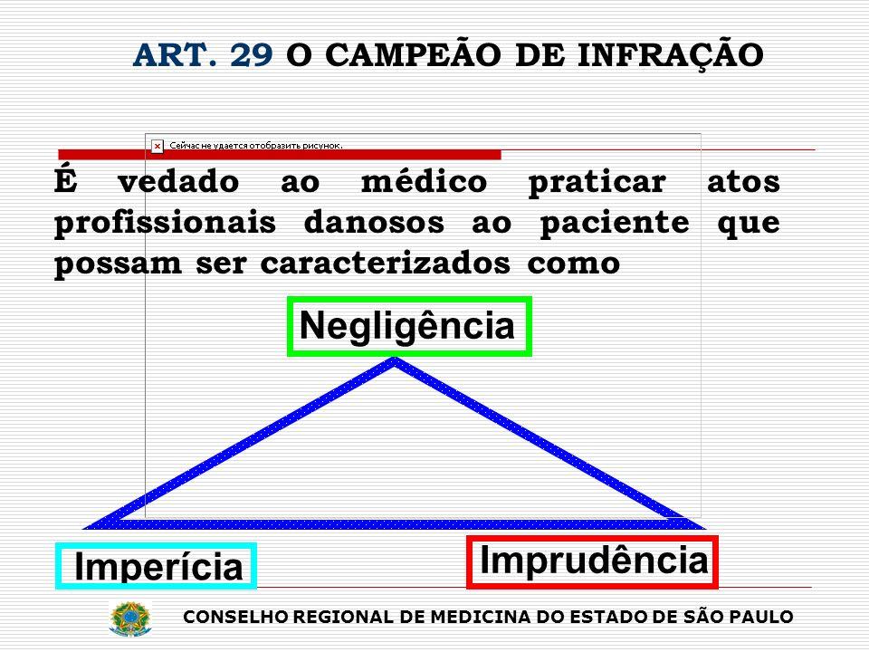 É vedado ao médico praticar atos profissionais danosos ao paciente que possam ser caracterizados como ART. 29 O CAMPEÃO DE INFRAÇÃO Imprudência Imperí