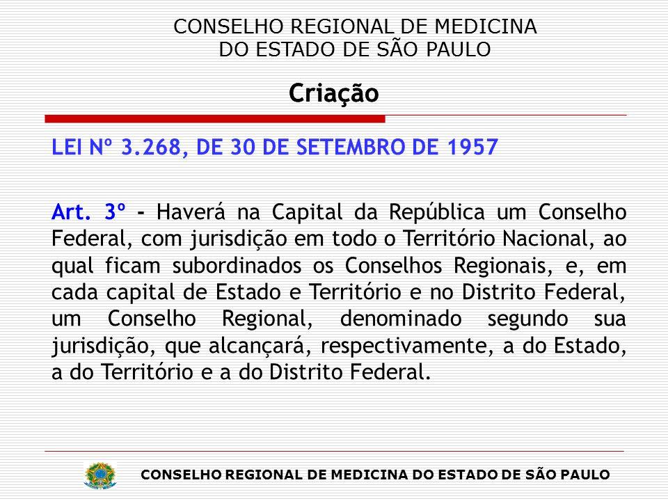 CONSELHO REGIONAL DE MEDICINA DO ESTADO DE SÃO PAULO Criação CONSELHO REGIONAL DE MEDICINA DO ESTADO DE SÃO PAULO Criação CONSELHO REGIONAL DE MEDICINA DO ESTADO DE SÃO PAULO Criação LEI Nº 3.268, DE 30 DE SETEMBRO DE 1957 Art.