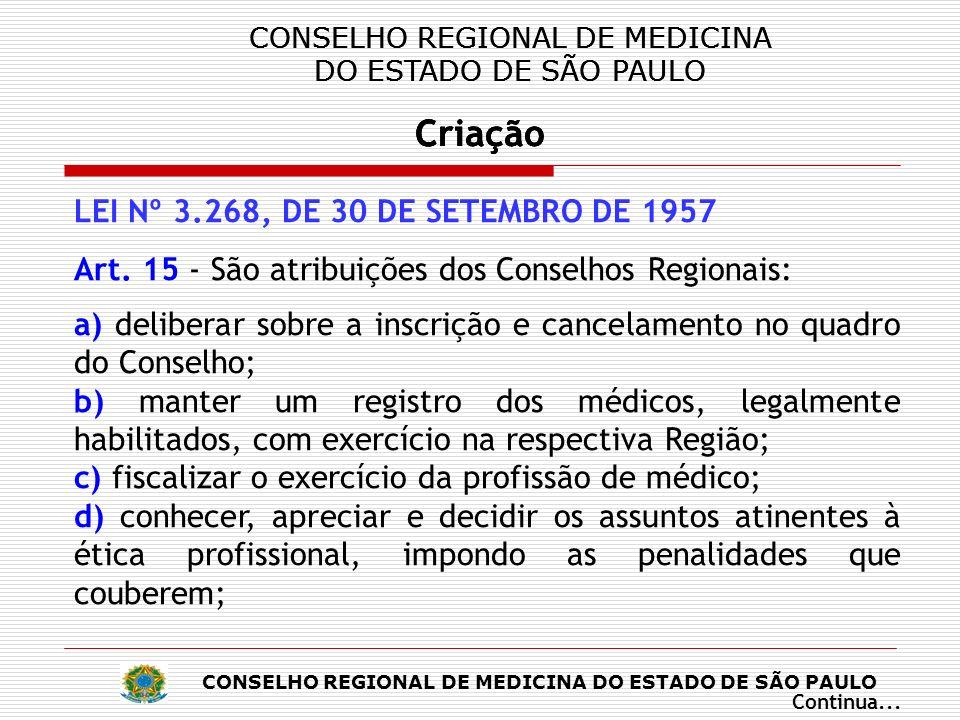 CONSELHO REGIONAL DE MEDICINA DO ESTADO DE SÃO PAULO Criação CONSELHO REGIONAL DE MEDICINA DO ESTADO DE SÃO PAULO Criação CONSELHO REGIONAL DE MEDICINA DO ESTADO DE SÃO PAULO Criação CONSELHO REGIONAL DE MEDICINA DO ESTADO DE SÃO PAULO Criação LEI Nº 3.268, DE 30 DE SETEMBRO DE 1957 e) elaborar a proposta do seu regimento interno, submetendo-a à aprovação do Conselho Federal; f) expedir carteira profissional; g) velar pela conservação da honra e da independência do Conselho, e pelo livre exercício legal dos direitos dos médicos; h) promover, por todos os meios e ao seu alcance, o perfeito desempenho técnico e moral da medicina e o prestígio e bom conceito da medicina, da profissão e dos que a exerçam; Continua...