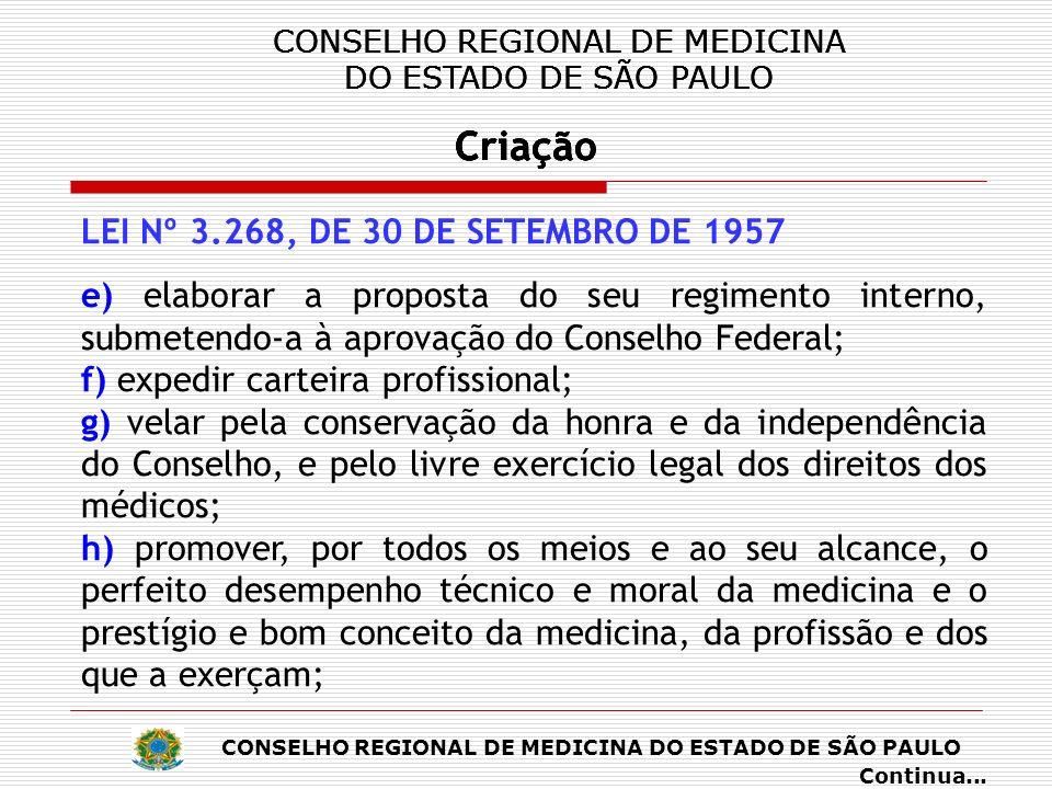 CONSELHO REGIONAL DE MEDICINA DO ESTADO DE SÃO PAULO Criação CONSELHO REGIONAL DE MEDICINA DO ESTADO DE SÃO PAULO Criação CONSELHO REGIONAL DE MEDICINA DO ESTADO DE SÃO PAULO Criação CONSELHO REGIONAL DE MEDICINA DO ESTADO DE SÃO PAULO Criação LEI Nº 3.268, DE 30 DE SETEMBRO DE 1957 i) publicar relatórios anuais de seus trabalhos e a relação dos profissionais registrados; j) exercer os atos de jurisdição que por lei lhes sejam concedidos; k) representar ao Conselho Federal de Medicina sobre providências necessárias para a regularidade dos serviços e da fiscalização do exercício da profissão.
