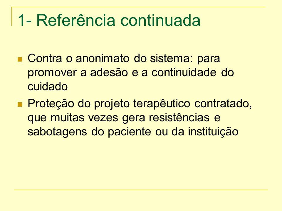 1- Referência continuada Contra o anonimato do sistema: para promover a adesão e a continuidade do cuidado Proteção do projeto terapêutico contratado,