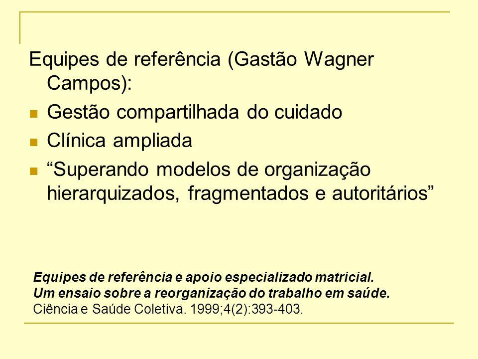 Equipes de referência (Gastão Wagner Campos): Gestão compartilhada do cuidado Clínica ampliada Superando modelos de organização hierarquizados, fragme