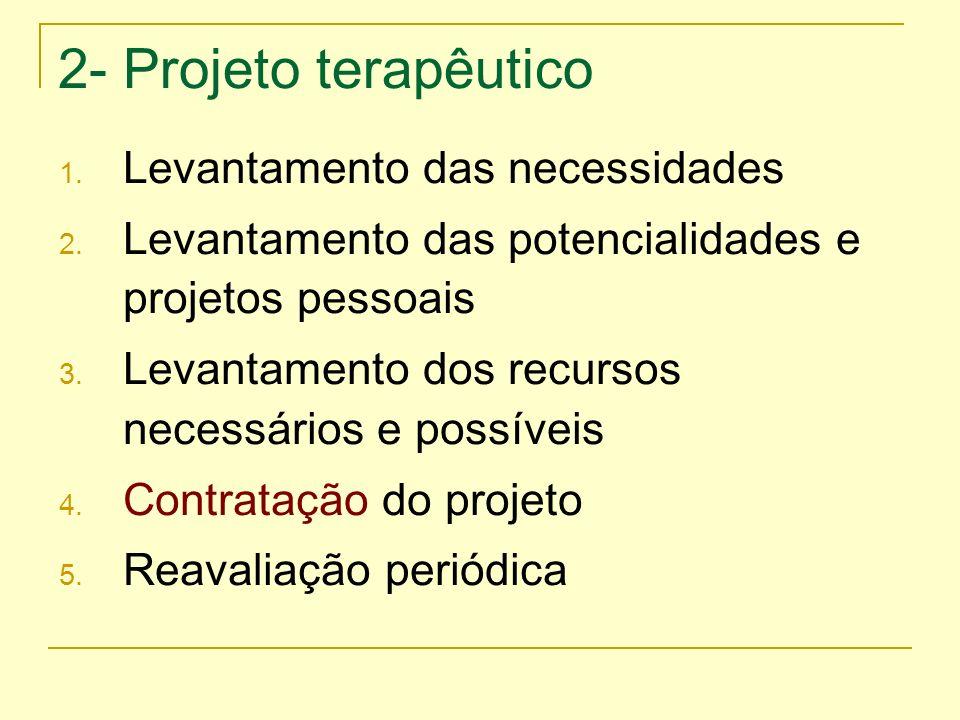 2- Projeto terapêutico 1. Levantamento das necessidades 2. Levantamento das potencialidades e projetos pessoais 3. Levantamento dos recursos necessári