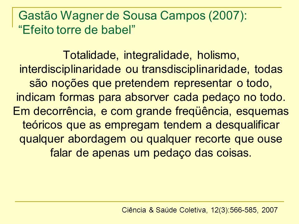 Gastão Wagner de Sousa Campos (2007): Efeito torre de babel Totalidade, integralidade, holismo, interdisciplinaridade ou transdisciplinaridade, todas