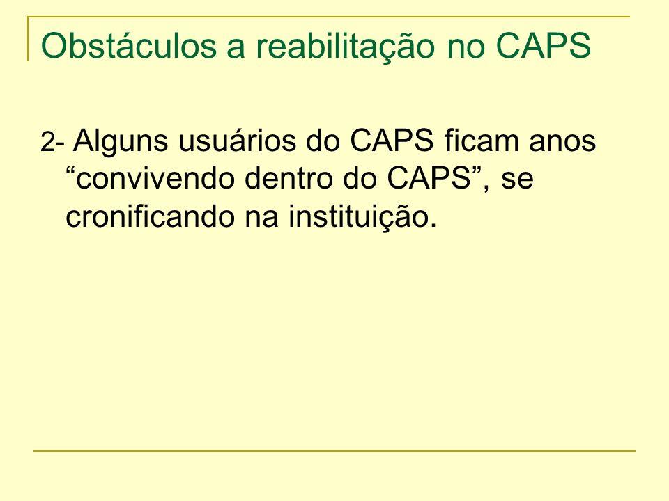 Obstáculos a reabilitação no CAPS 2- Alguns usuários do CAPS ficam anos convivendo dentro do CAPS, se cronificando na instituição.
