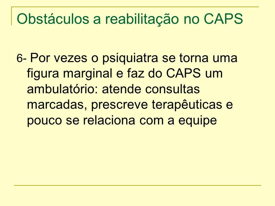 Obstáculos a reabilitação no CAPS 6- Por vezes o psiquiatra se torna uma figura marginal e faz do CAPS um ambulatório: atende consultas marcadas, pres
