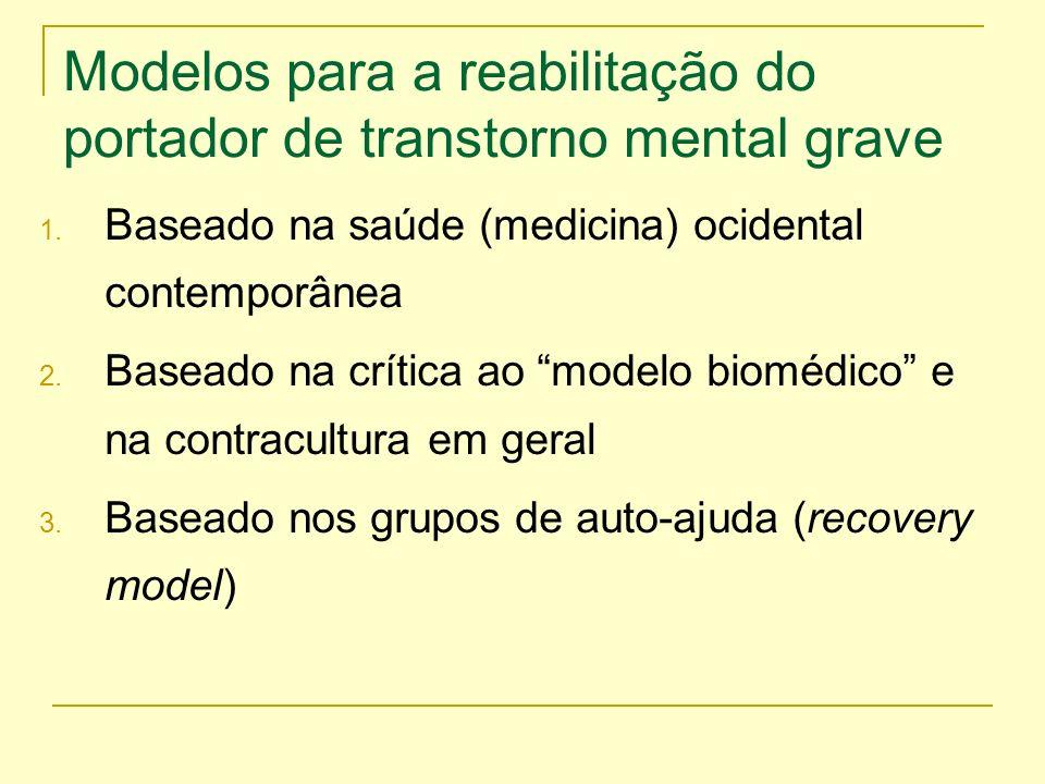 Modelos para a reabilitação do portador de transtorno mental grave 1. Baseado na saúde (medicina) ocidental contemporânea 2. Baseado na crítica ao mod