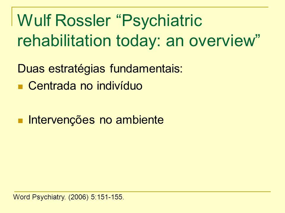 Wulf Rossler Psychiatric rehabilitation today: an overview Duas estratégias fundamentais: Centrada no indivíduo Intervenções no ambiente Word Psychiat