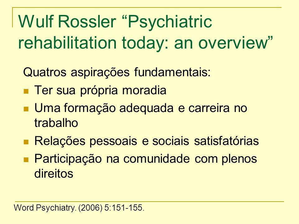 Wulf Rossler Psychiatric rehabilitation today: an overview Quatros aspirações fundamentais: Ter sua própria moradia Uma formação adequada e carreira n