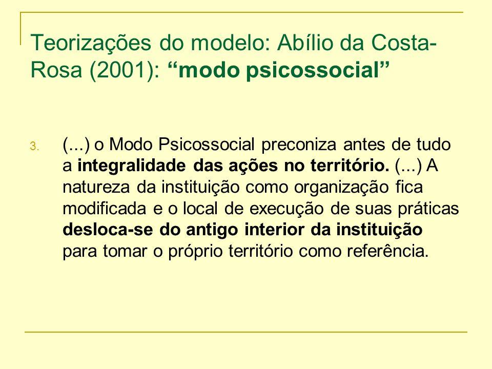 Teorizações do modelo: Abílio da Costa- Rosa (2001): modo psicossocial 3. (...) o Modo Psicossocial preconiza antes de tudo a integralidade das ações