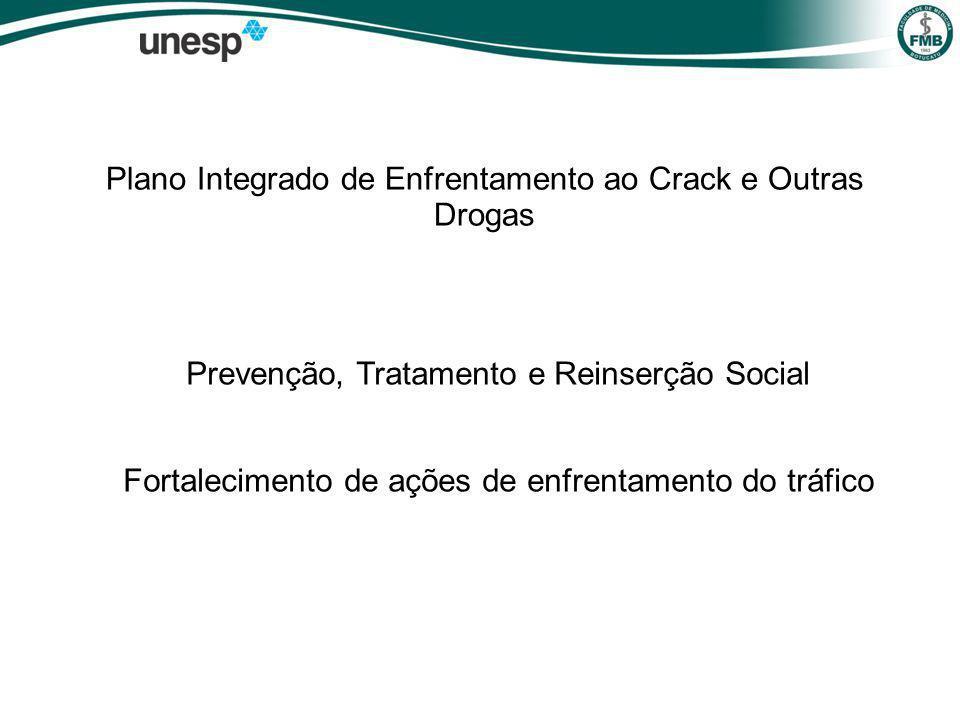 Plano Integrado de Enfrentamento ao Crack e Outras Drogas Prevenção, Tratamento e Reinserção Social Fortalecimento de ações de enfrentamento do tráfico
