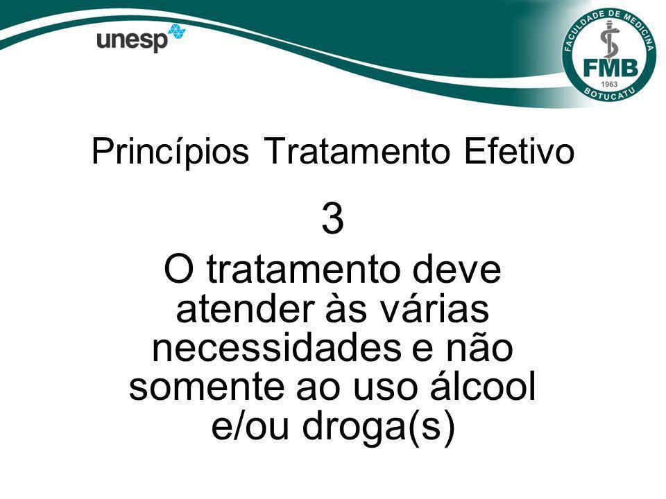 Princípios Tratamento Efetivo 3 O tratamento deve atender às várias necessidades e não somente ao uso álcool e/ou droga(s)