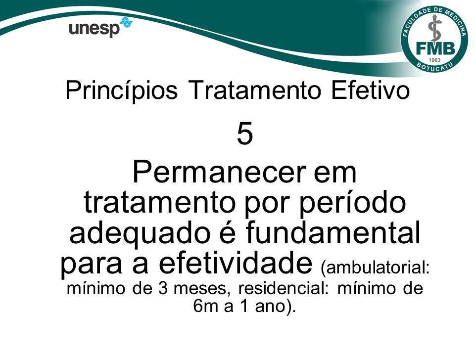 Princípios Tratamento Efetivo 5 Permanecer em tratamento por período adequado é fundamental para a efetividade (ambulatorial: mínimo de 3 meses, residencial: mínimo de 6m a 1 ano).