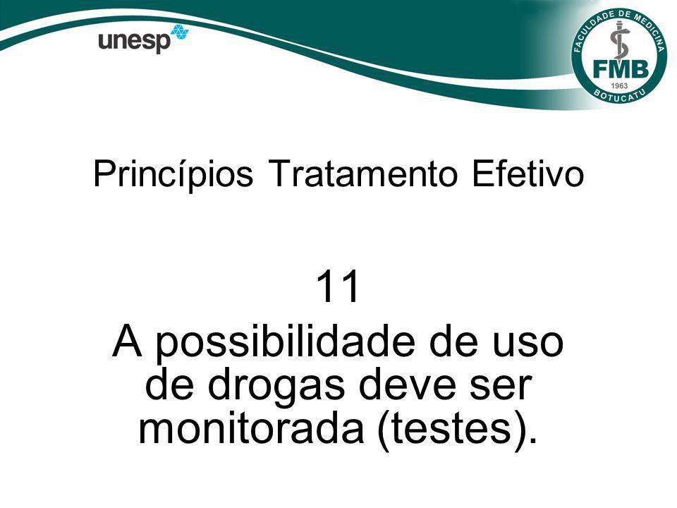 Princípios Tratamento Efetivo 11 A possibilidade de uso de drogas deve ser monitorada (testes).