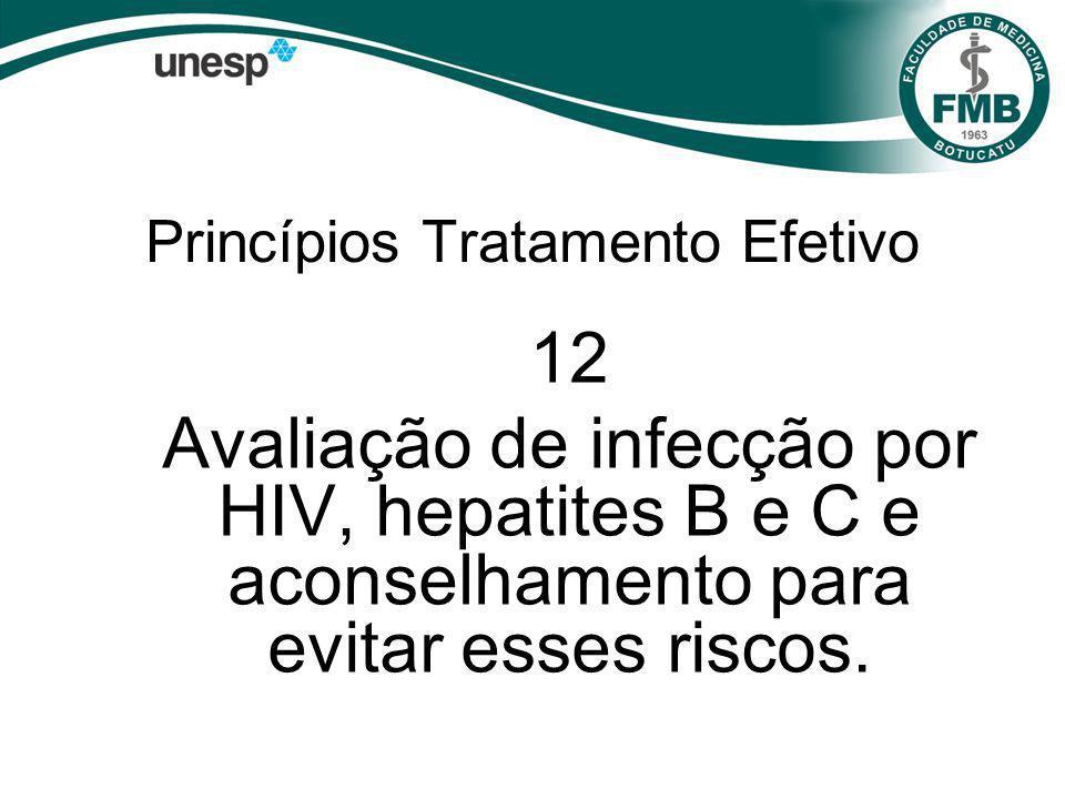 Princípios Tratamento Efetivo 12 Avaliação de infecção por HIV, hepatites B e C e aconselhamento para evitar esses riscos.