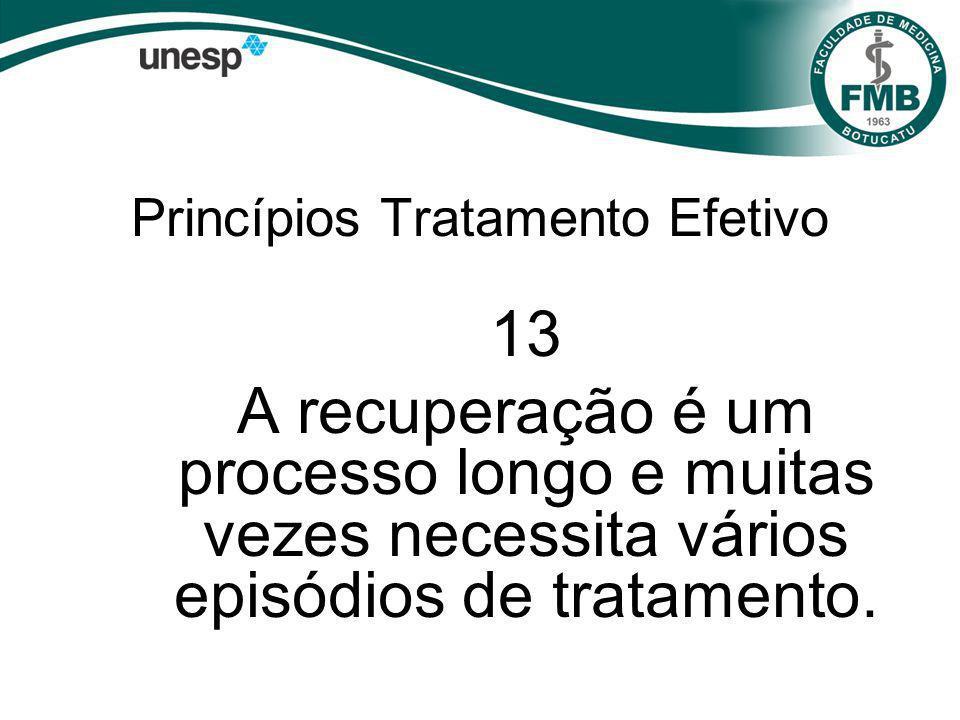 Princípios Tratamento Efetivo 13 A recuperação é um processo longo e muitas vezes necessita vários episódios de tratamento.