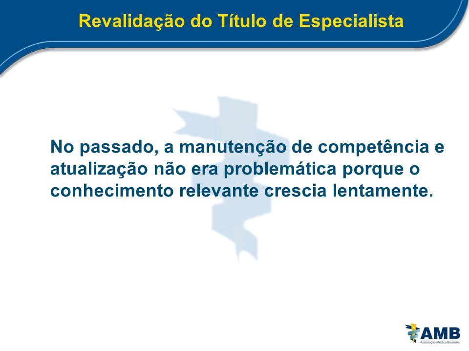 Revalidação do Título de Especialista No passado, a manutenção de competência e atualização não era problemática porque o conhecimento relevante cresc