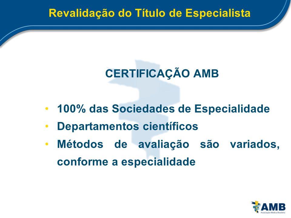 Revalidação do Título de Especialista CERTIFICAÇÃO AMB 100% das Sociedades de Especialidade Departamentos científicos Métodos de avaliação são variado