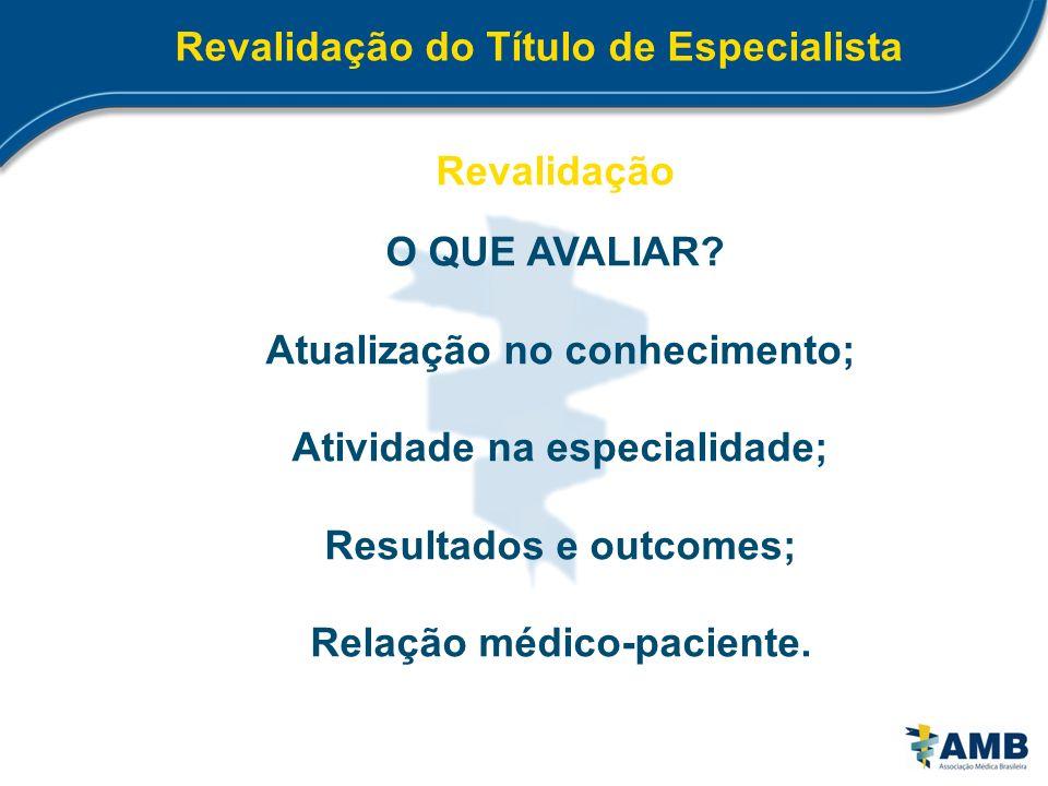 Revalidação do Título de Especialista Revalidação O QUE AVALIAR? Atualização no conhecimento; Atividade na especialidade; Resultados e outcomes; Relaç
