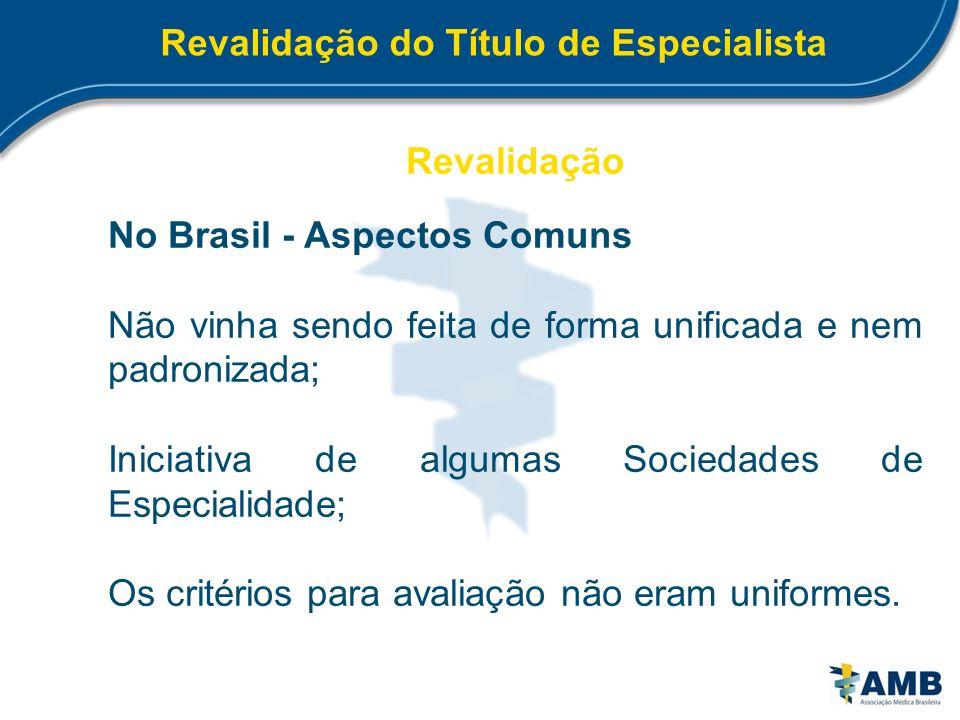 Revalidação do Título de Especialista Revalidação No Brasil - Aspectos Comuns Não vinha sendo feita de forma unificada e nem padronizada; Iniciativa d