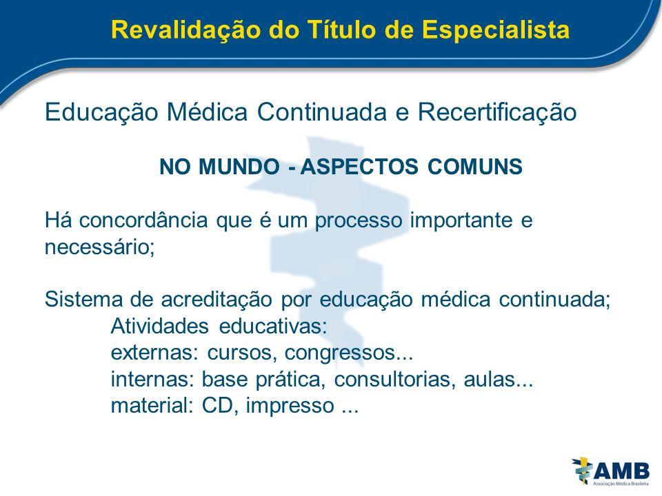 Revalidação do Título de Especialista Educação Médica Continuada e Recertificação NO MUNDO - ASPECTOS COMUNS Há concordância que é um processo importa
