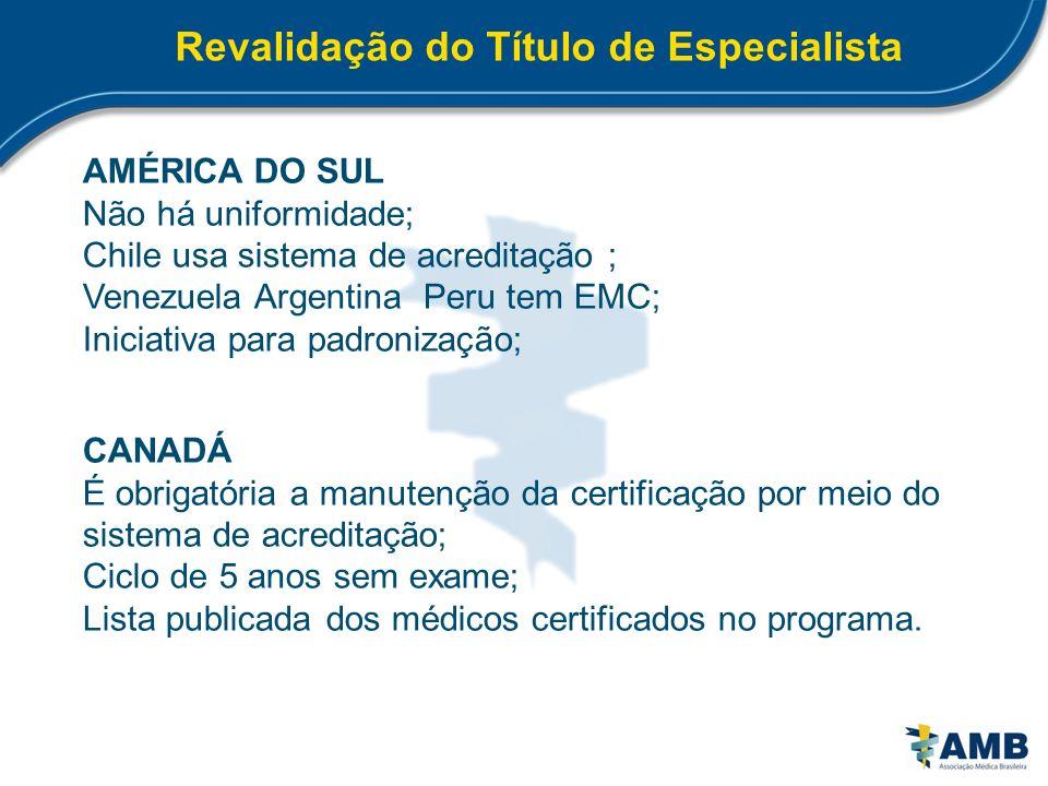 Revalidação do Título de Especialista AMÉRICA DO SUL Não há uniformidade; Chile usa sistema de acreditação ; Venezuela Argentina Peru tem EMC; Iniciat