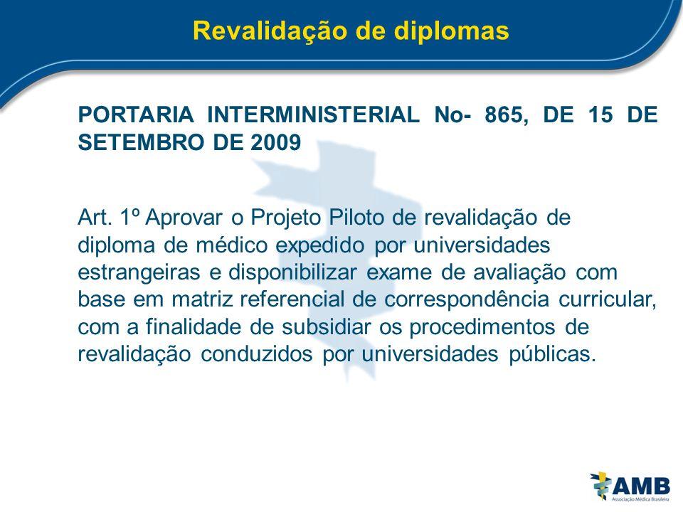 Revalidação de diplomas PORTARIA INTERMINISTERIAL No- 865, DE 15 DE SETEMBRO DE 2009 Art. 1º Aprovar o Projeto Piloto de revalidação de diploma de méd