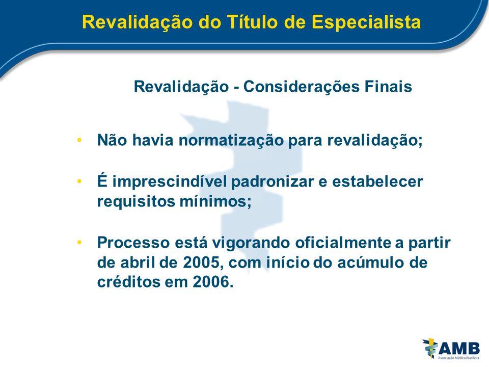 Revalidação do Título de Especialista Revalidação - Considerações Finais Não havia normatização para revalidação; É imprescindível padronizar e estabe