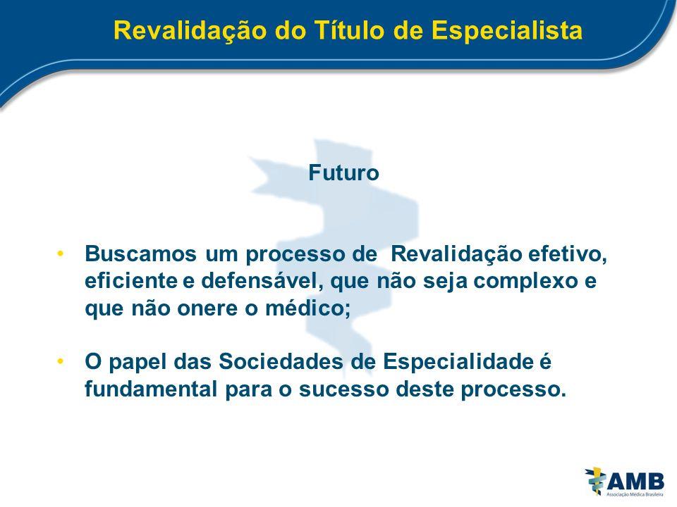 Revalidação do Título de Especialista Futuro Buscamos um processo de Revalidação efetivo, eficiente e defensável, que não seja complexo e que não oner