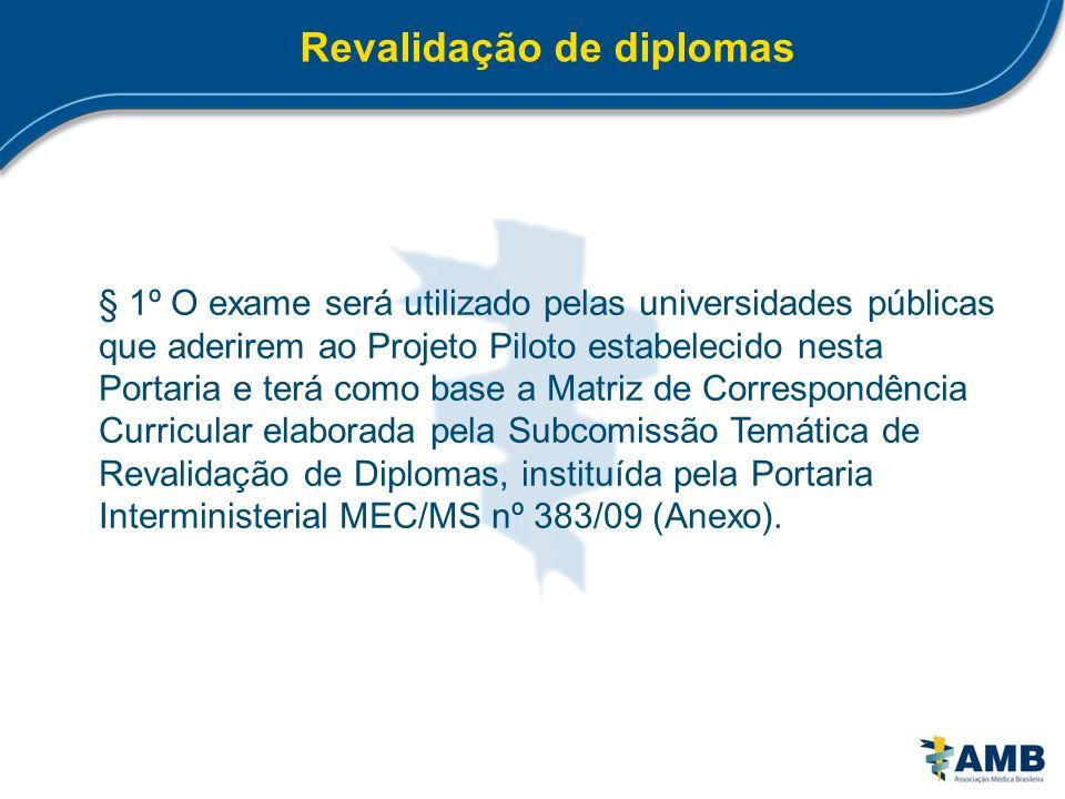 Revalidação de diplomas § 1º O exame será utilizado pelas universidades públicas que aderirem ao Projeto Piloto estabelecido nesta Portaria e terá com