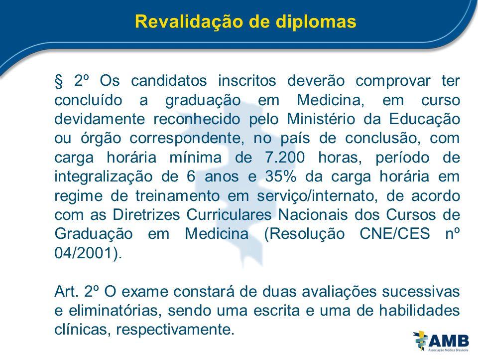 Revalidação de diplomas § 2º Os candidatos inscritos deverão comprovar ter concluído a graduação em Medicina, em curso devidamente reconhecido pelo Mi