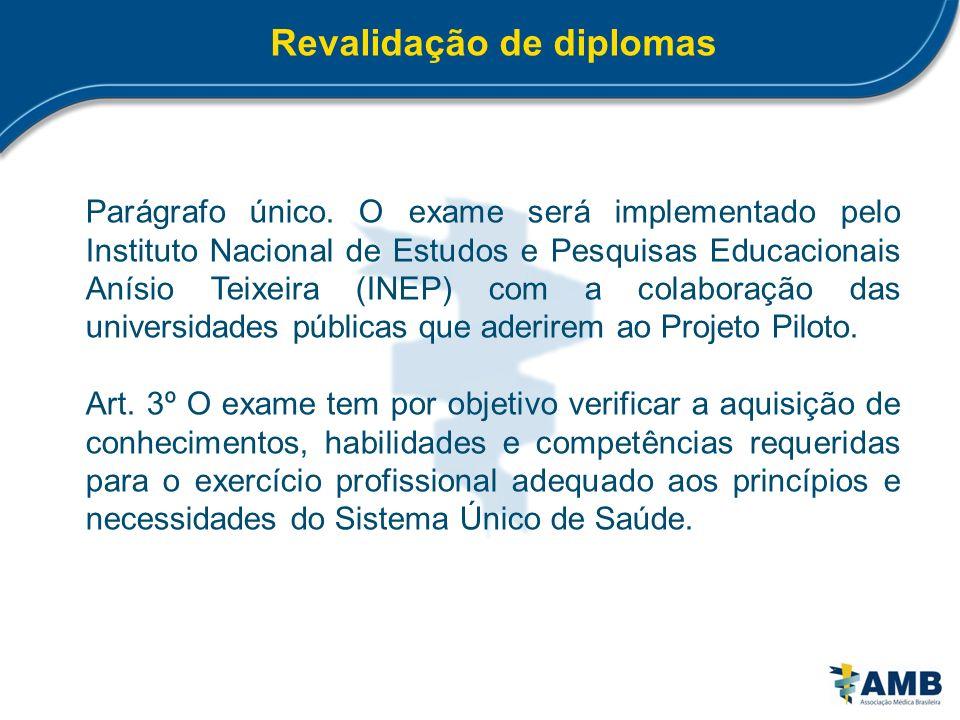 Revalidação de diplomas Parágrafo único. O exame será implementado pelo Instituto Nacional de Estudos e Pesquisas Educacionais Anísio Teixeira (INEP)
