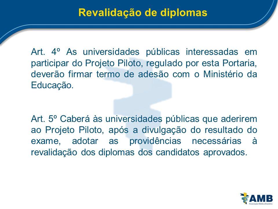 Revalidação de diplomas Art. 4º As universidades públicas interessadas em participar do Projeto Piloto, regulado por esta Portaria, deverão firmar ter