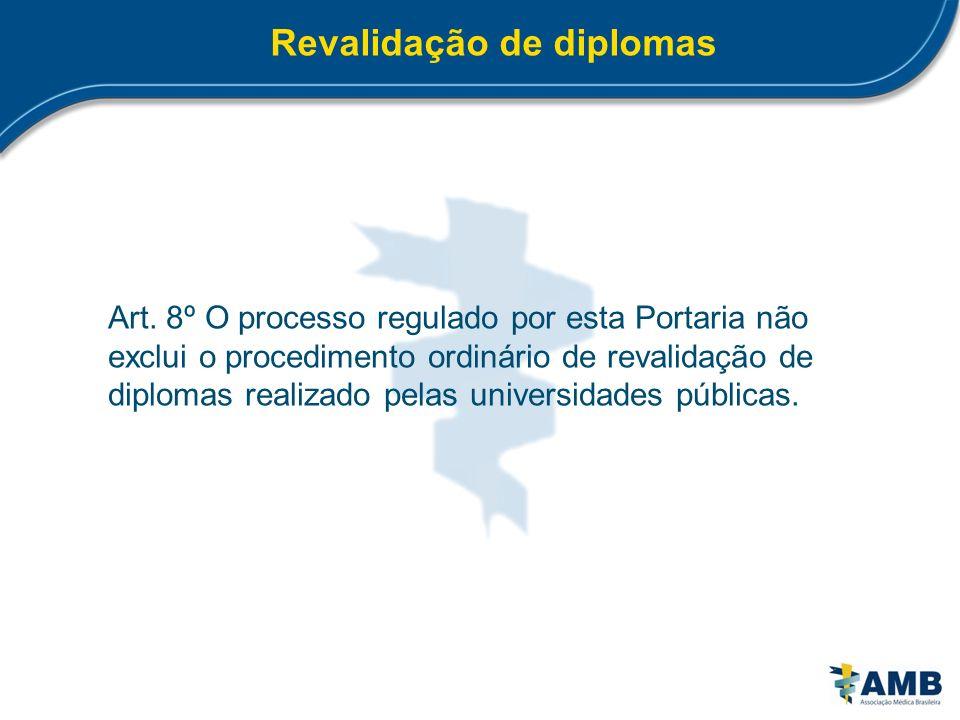 Revalidação de diplomas Art. 8º O processo regulado por esta Portaria não exclui o procedimento ordinário de revalidação de diplomas realizado pelas u