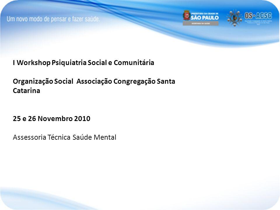 I Workshop Psiquiatria Social e Comunitária Organização Social Associação Congregação Santa Catarina 25 e 26 Novembro 2010 Assessoria Técnica Saúde Me