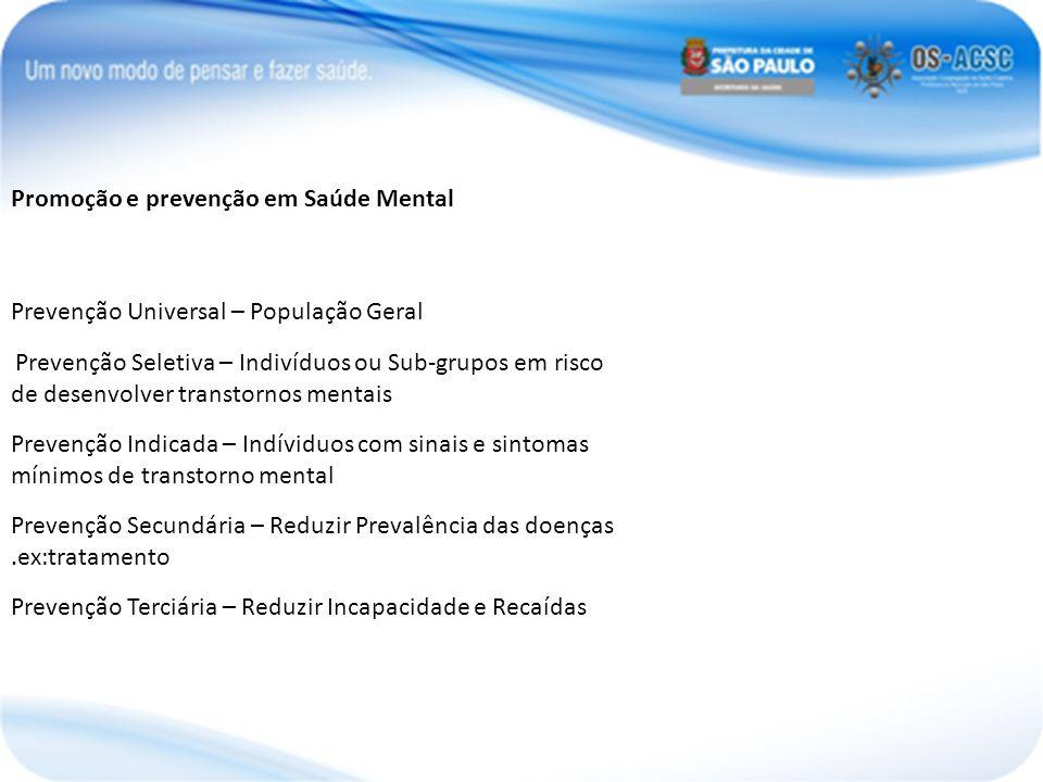 Promoção e prevenção em Saúde Mental Prevenção Universal – População Geral Prevenção Seletiva – Indivíduos ou Sub-grupos em risco de desenvolver trans