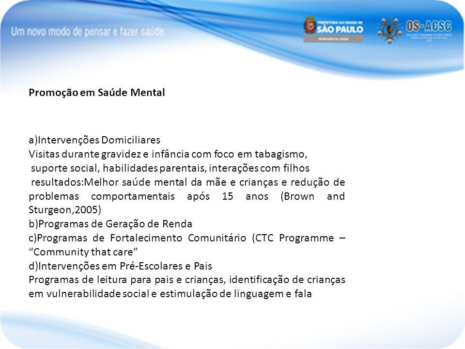 Promoção em Saúde Mental a)Intervenções Domiciliares Visitas durante gravidez e infância com foco em tabagismo, suporte social, habilidades parentais,