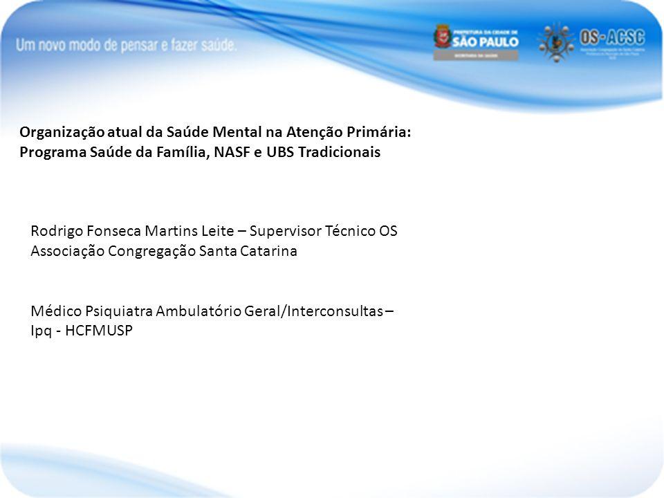Organização atual da Saúde Mental na Atenção Primária: Programa Saúde da Família, NASF e UBS Tradicionais Rodrigo Fonseca Martins Leite – Supervisor T