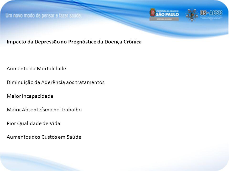Impacto da Depressão no Prognóstico da Doença Crônica Aumento da Mortalidade Diminuição da Aderência aos tratamentos Maior Incapacidade Maior Absenteí