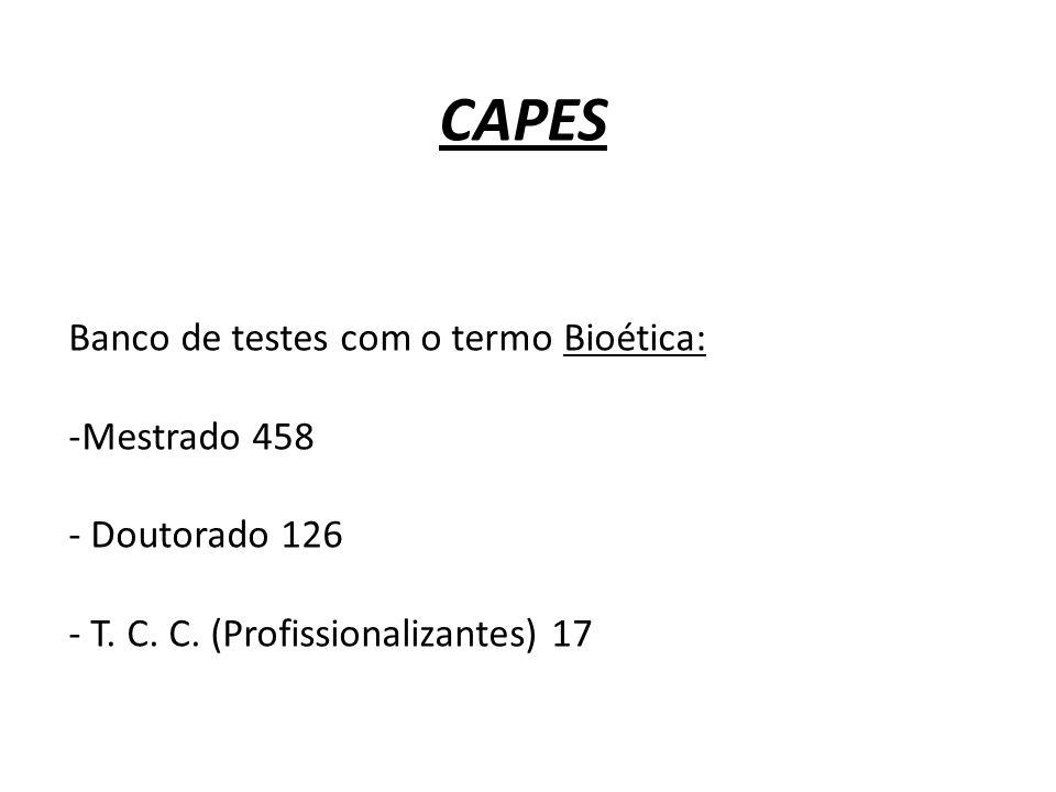 CAPES Banco de testes com o termo Bioética: -Mestrado 458 - Doutorado 126 - T. C. C. (Profissionalizantes) 17