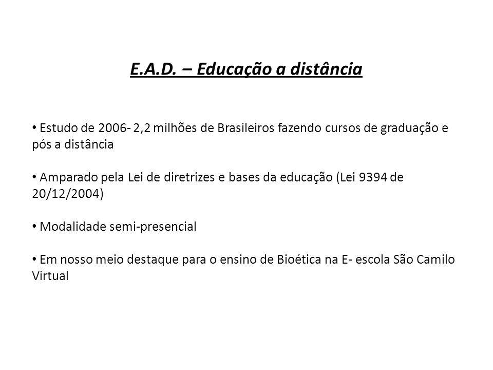 E.A.D. – Educação a distância Estudo de 2006- 2,2 milhões de Brasileiros fazendo cursos de graduação e pós a distância Amparado pela Lei de diretrizes