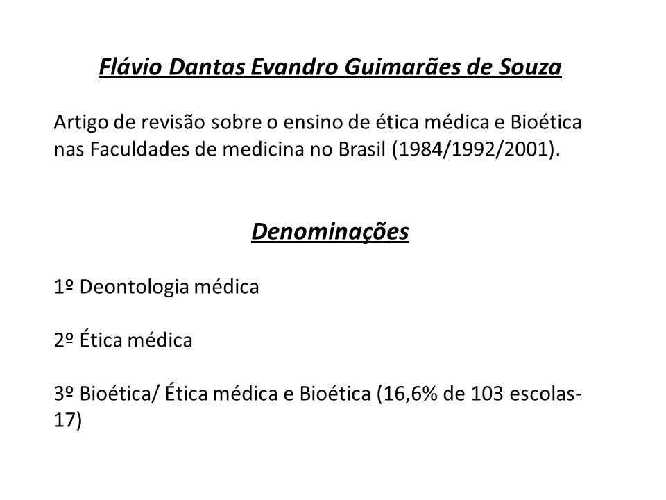 Flávio Dantas Evandro Guimarães de Souza Artigo de revisão sobre o ensino de ética médica e Bioética nas Faculdades de medicina no Brasil (1984/1992/2
