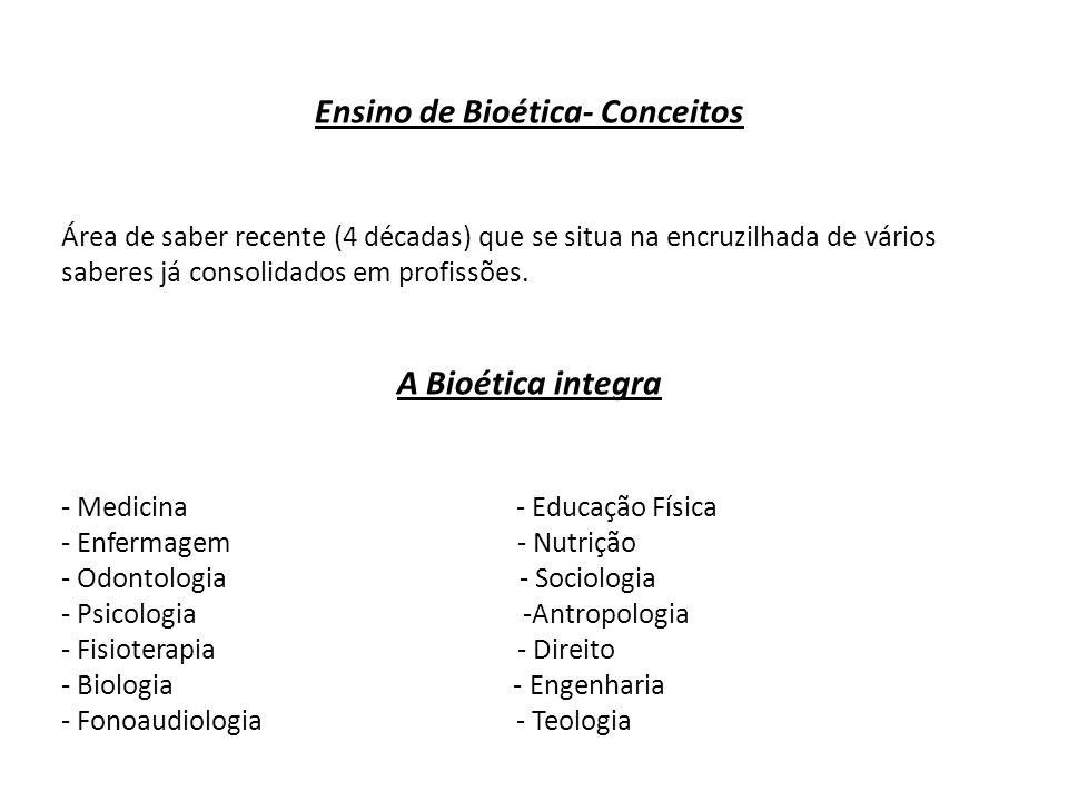 Ensino de Bioética- Conceitos Área de saber recente (4 décadas) que se situa na encruzilhada de vários saberes já consolidados em profissões. A Bioéti