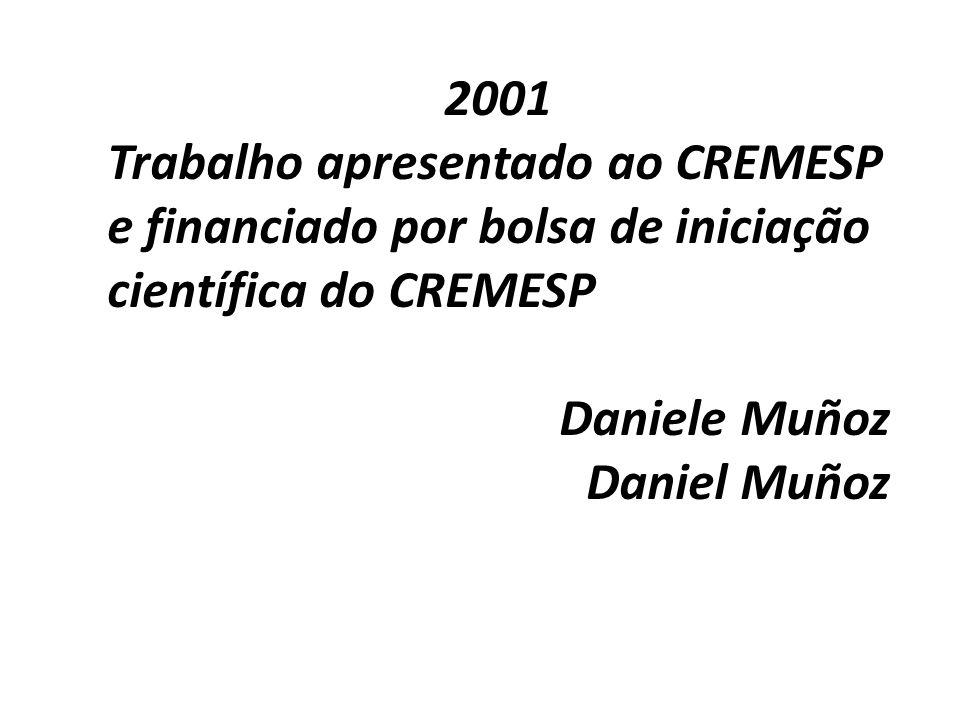2001 Trabalho apresentado ao CREMESP e financiado por bolsa de iniciação científica do CREMESP Daniele Muñoz Daniel Muñoz