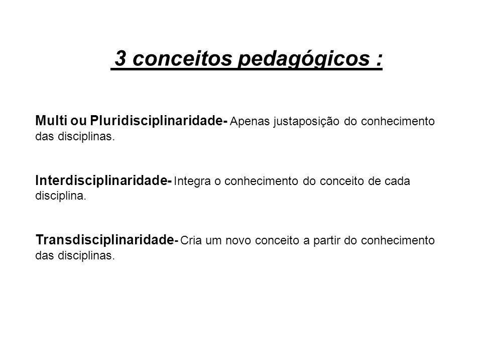 3 conceitos pedagógicos : Multi ou Pluridisciplinaridade- Apenas justaposição do conhecimento das disciplinas. Interdisciplinaridade- Integra o conhec